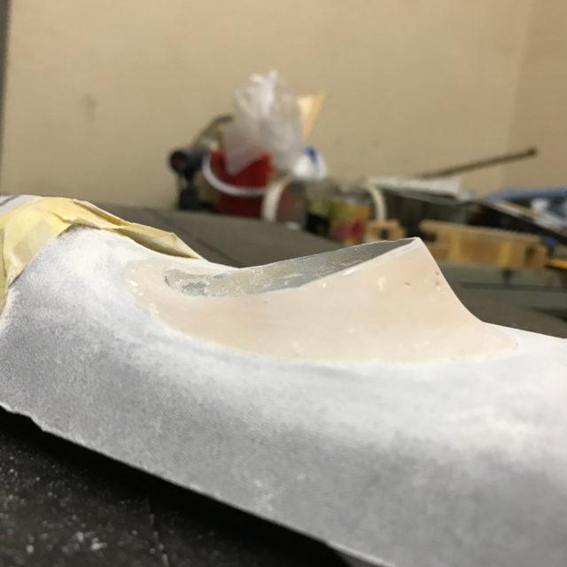 削った後のパテの状態